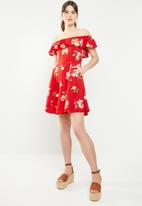 c(inch) - Bardot fit and flare dress - multi