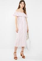 edit - Bardot linen blend dress - pink