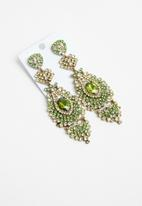 STYLE REPUBLIC - Statement stone earrings - green & gold