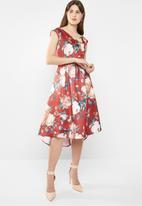 edit - Dipped hemline satin blend dress - multi