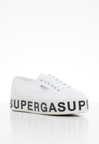 SUPERGA - Canvas flatform bold letters - white