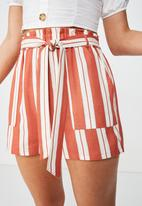 Cotton On - High waist shorts - rust & cream