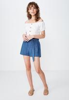 Cotton On - High waist shorts  - blue