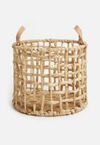 Sixth Floor - Leather handles basket - natural