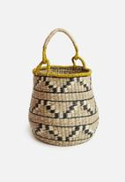 Sixth Floor - Ethnic basket with yellow handles - natural & black