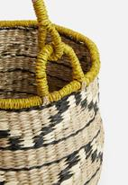 Sixth Floor - Ethnic basket with yellow handles - natural & black