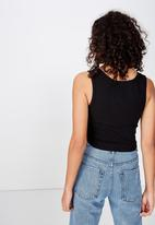 Cotton On - The sister crop tank - black