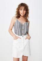 Cotton On - Allie button front cami - navy & white
