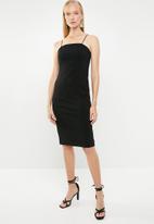 Superbalist - Square neck bodycon midi dress - black