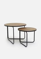 Sixth Floor - Nested coffee table set of 2 - natural & black