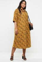AMANDA LAIRD CHERRY - Plus size thutho shirt dress - yellow & black