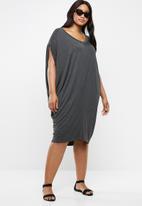edit Plus - Drape easy fit dress - grey