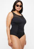 Jacqueline Plus - Mesh detail one piece - black
