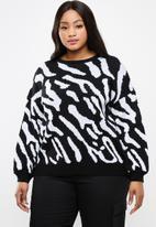 STYLE REPUBLIC PLUS - Zebra print sweater - black & white