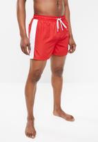 Brave Soul - Charles side stripe shorts - red & white