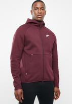 Nike - M nsw tech fleece hoodie fz - burgundy & white