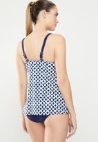 Lu-May - Tankini set with strap detail - blue & white