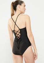 Lu-May - Criss cross detail one piece - black