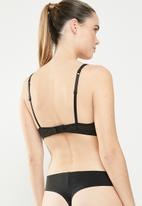 New Look - Flock stripe boost bra - black