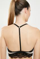 New Look -  Mixed fabric bralet - black & neutral