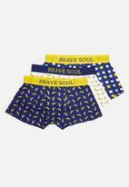 Brave Soul - Bananas cotton 3 pack trunks  - blue & white
