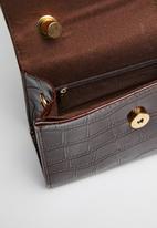 Superbalist - Croc like leather handbag - brown