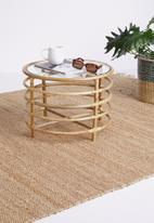 Sixth Floor - Bamboo table with glass top - brown