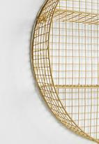 Sixth Floor - Round grid shelf - brass