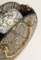 MANGO - Snake-effect round bag - grey