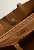 MANGO - Leather shopper bag - brown