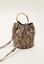 MANGO - Metallic handle bag - beige