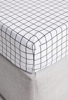 Sixth Floor - Check polycotton sheet set - black