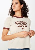 Cotton On - Tbar Remi graphic ringer tee - burgundy & beige