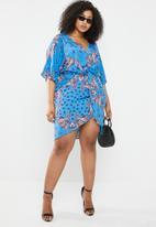 Missguided - Curve scarf front twist mini dress - blue