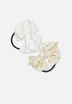 Cotton On - Bow hair tie - white & beige