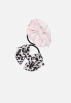 Cotton On - Bow hair tie - pink & black