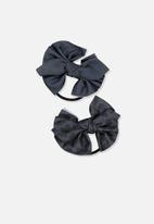 Cotton On - Bow hair tie - navy & black