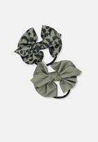 Cotton On - Bow hair tie - green & black
