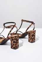 Cotton On - Leo print faux suede double strap heel - brown