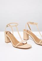 Cotton On - Faux leather double strap heel - neutral