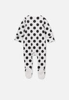 Cotton On - The long sleeve zip romper - white & black