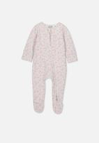 Cotton On - The long sleeve zip romper - grey & pink