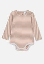 Cotton On - The long sleeve bubbysuit - white & brown