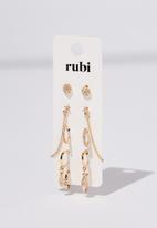 Cotton On - Aishling multi pack earrings - gold