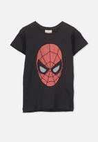 Cotton On - Short sleeve embroidered spiderman tee - black