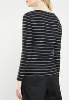 Jacqueline de Yong - Nevada stripe jersey top - black & white