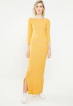 Jacqueline de Yong - Nevada stripe jersey midi dress - yellow & white
