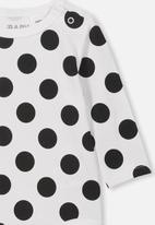 Cotton On - The long sleeve bubbysuit - black & white