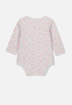 Cotton On - The long sleeve bubbysuit - grey & pink