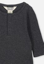Cotton On - Long sleeve button bubbysuit - graphite marle